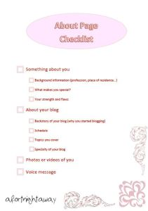Checklist printable about me about page blogging advice blog