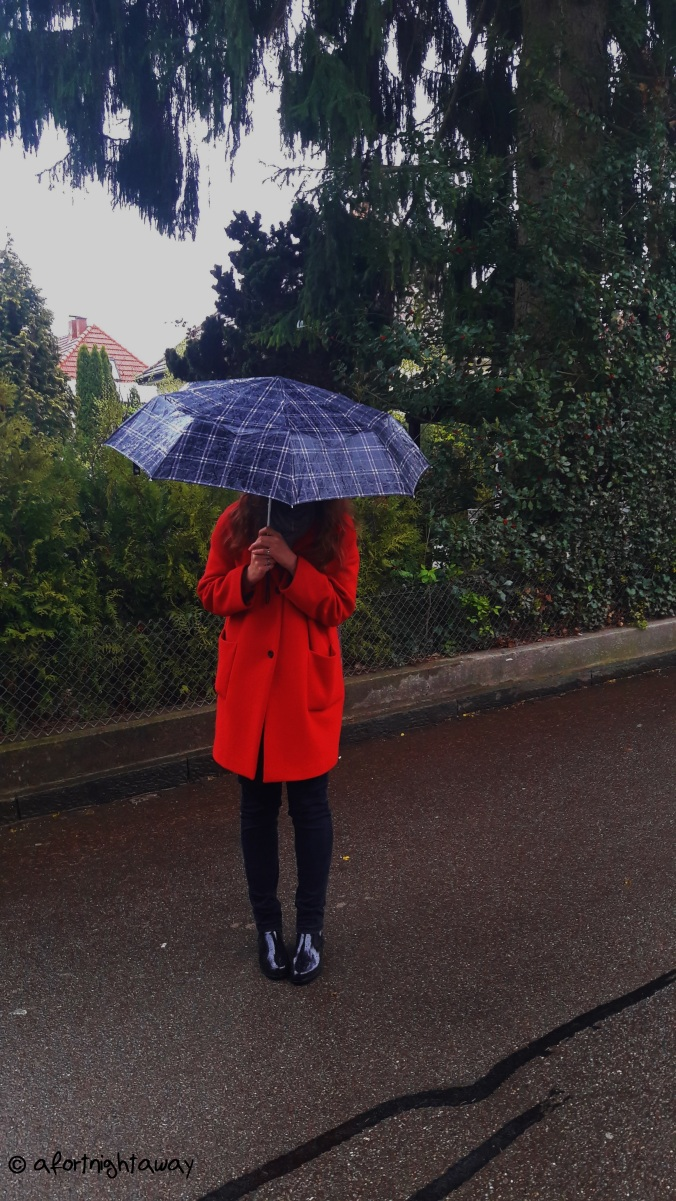 afortnightaway, red coat, umbrella